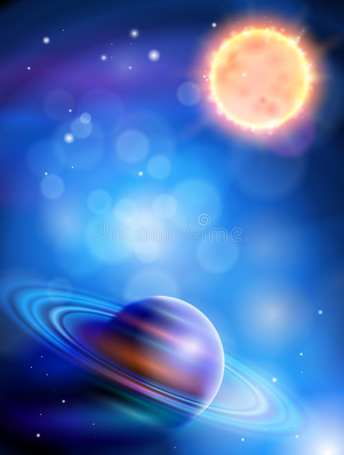 Sun & Saturn. Magic Space - planets, stars and constellations, nebulae and galaxies, lights. Sun & Saturn royalty free illustration