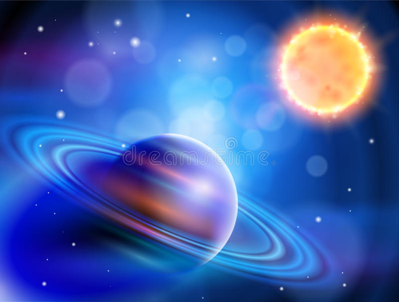 Sun & Saturn. Magic Space - planets, stars and constellations, nebulae and galaxies, lights. Sun & Saturn stock illustration