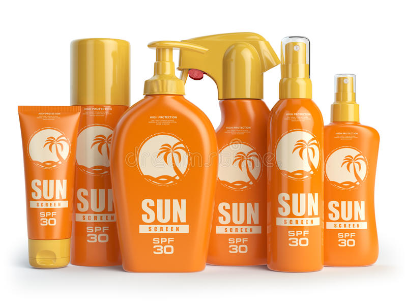 Sun screen cream, oil and lotion containers. Sun protection. And suntan cosmetics isolated on white background. 3d illustration vector illustration
