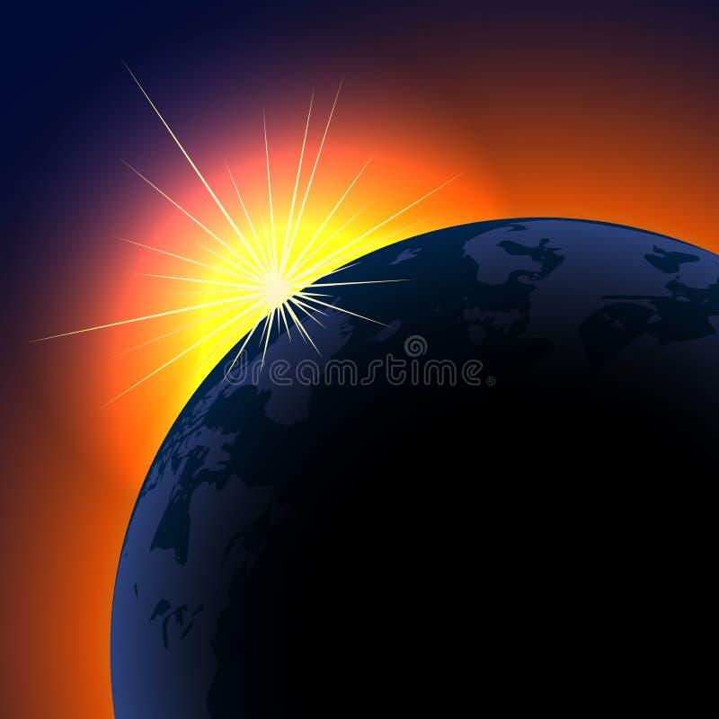 Sun se levant au-dessus de la planète illustration libre de droits