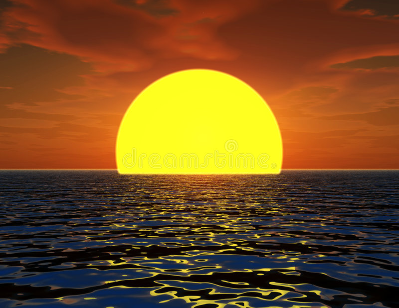 Sun In The Sea 2. This is a sun coming out of the sea in a seascape royalty free illustration