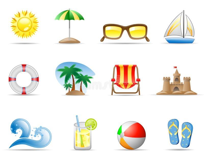 Sun Sea and Beach. Set of icons on a theme Sun Sea and Beach