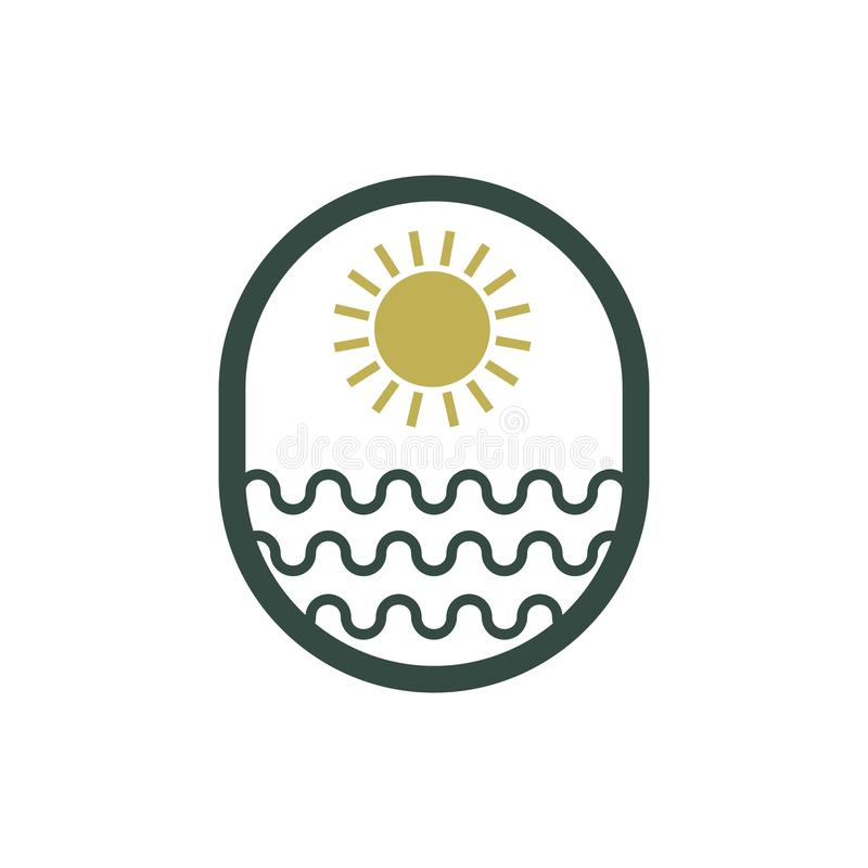 Sun sea logo vector design royalty free illustration