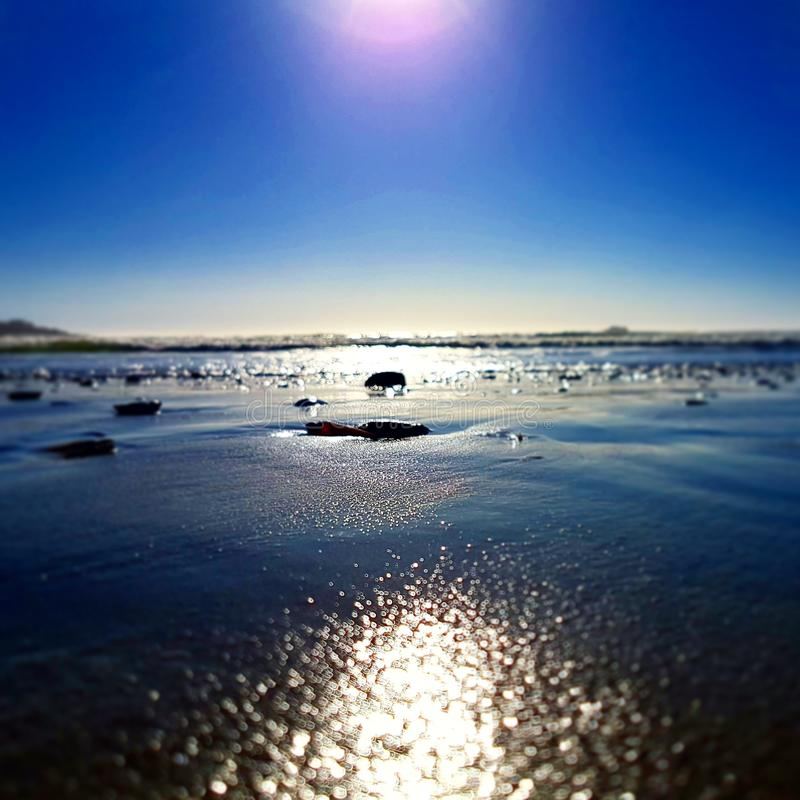 Sun by the sea stock photography