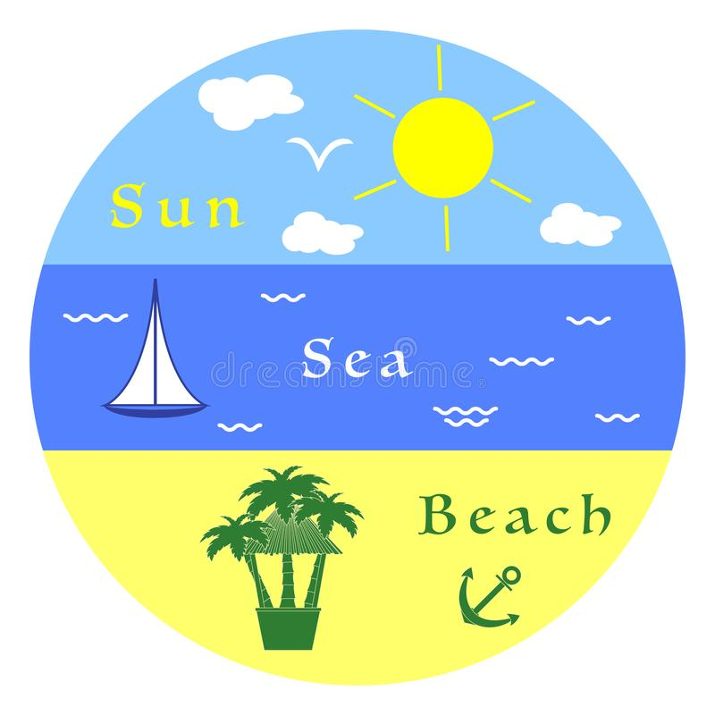 Sun, sea, yacht, beach, anchor, bar, palm trees. royalty free illustration