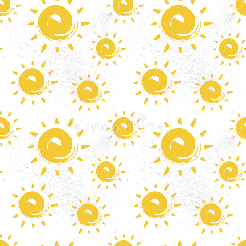 Sun Seamless Pattern Colorful Summer Ornament Background Style royalty free illustration