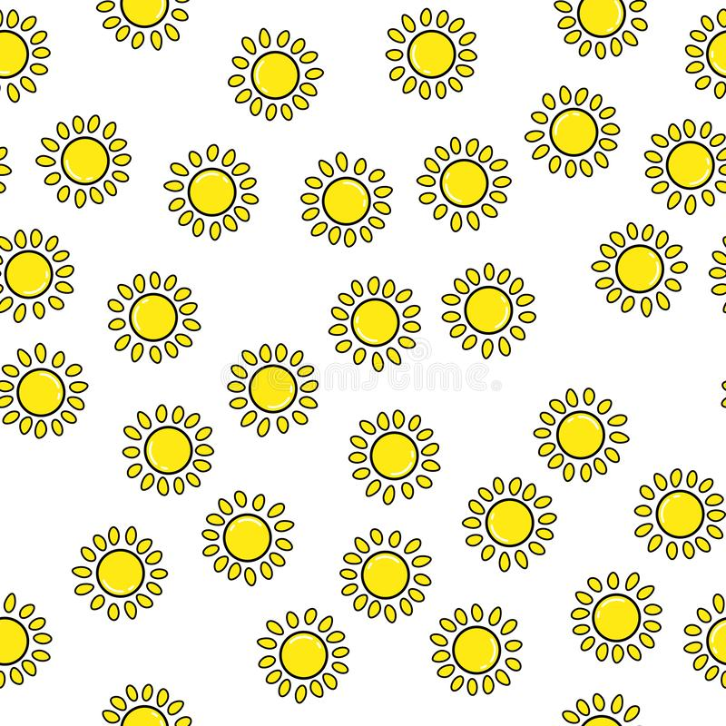 Sun seamless pattern on white background. Paper print design. Abstract retro vector illustration. Trendy textile, fabric, wrapping. Modern space decoration vector illustration
