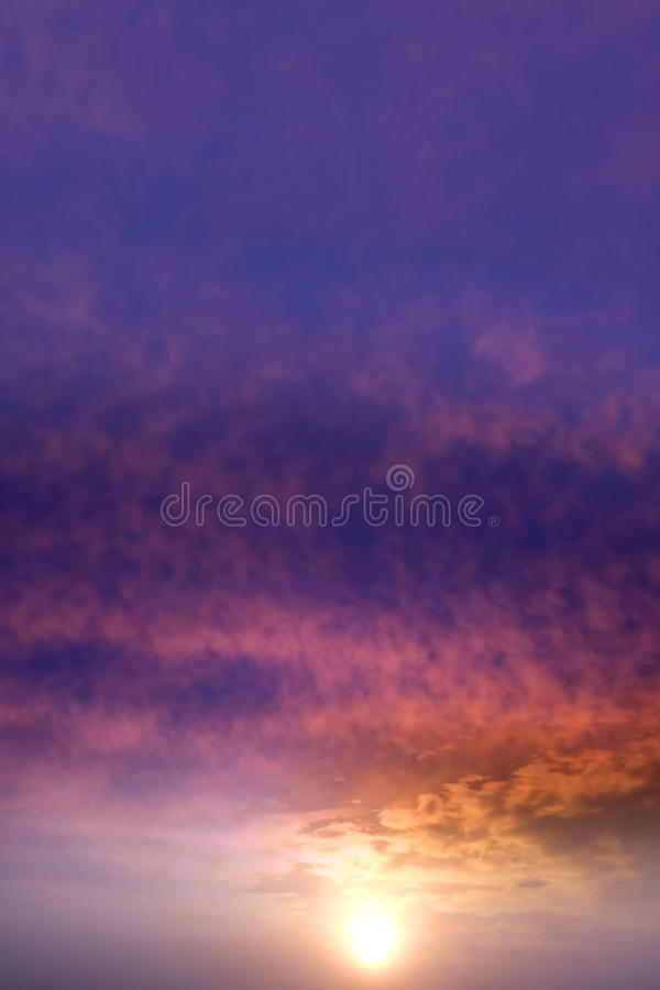 Sun set. And dramatic sky background with clouds stock photography