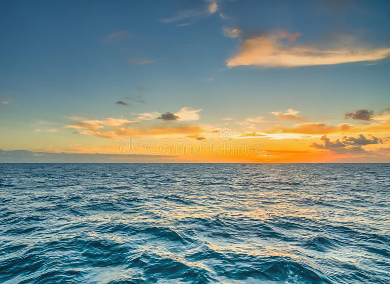 Sun set in the Bahamas out to sea stock photography