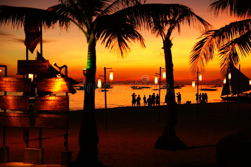 Sun set in Boracay stock photography