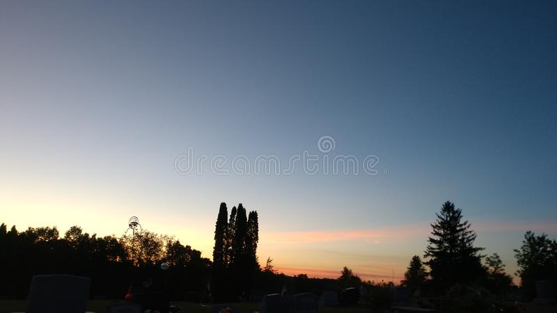Sun set late evening royalty free stock photography