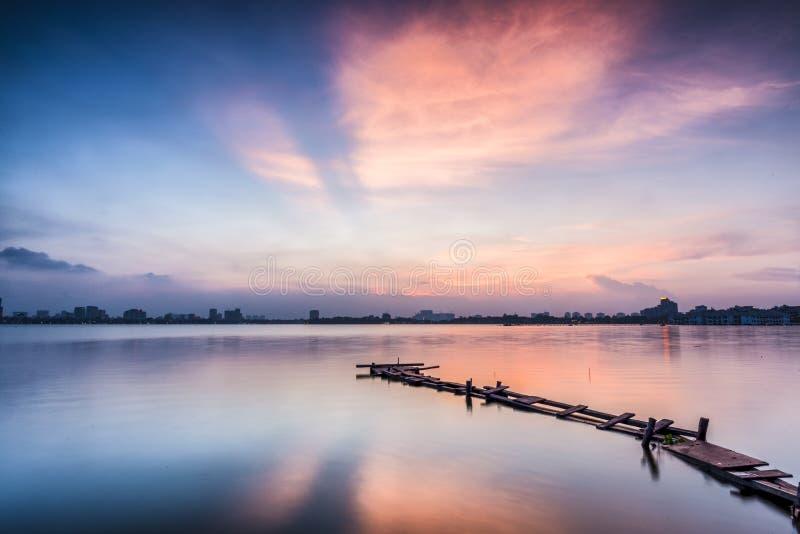 Sun set at Long Bien Bridge stock photo