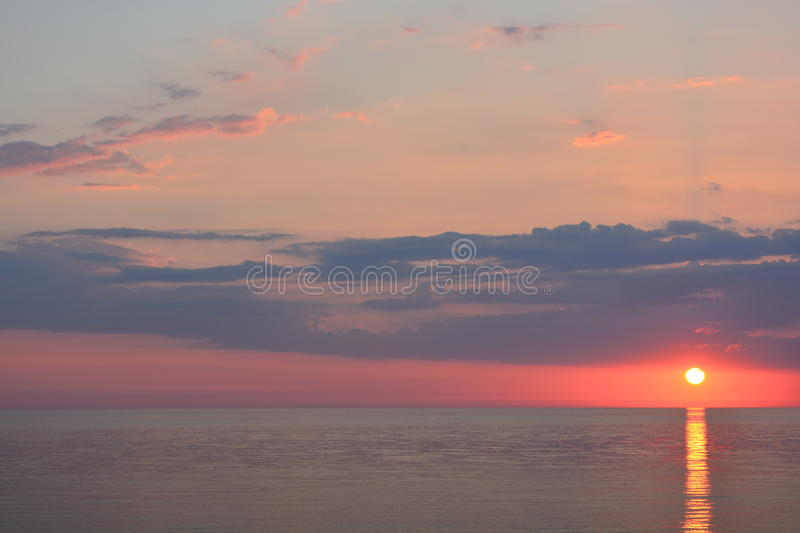 Download Sun set over the ocean stock image. Image of morning - 32088639