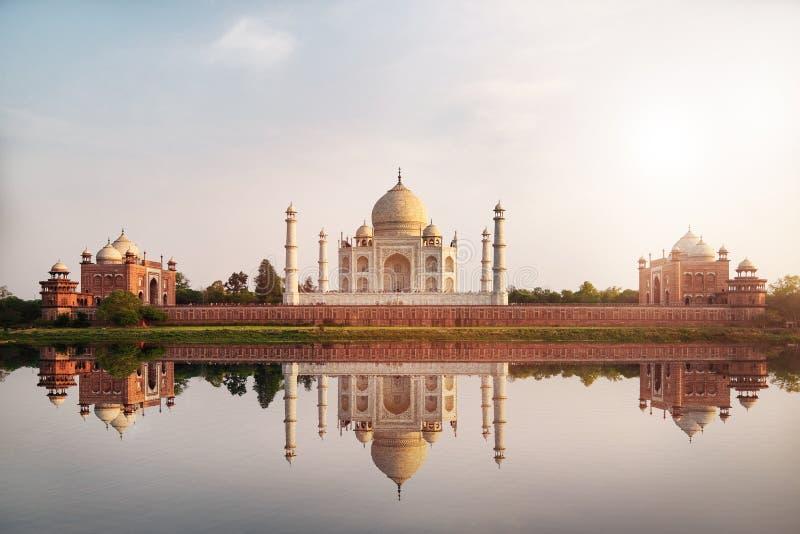 Sun set at Taj Mahal seen from Mehtab Bagh reflect on Yamuna river. Sun set at Taj Mahal seen from Mehtab Bagh reflect on Yamuna river, an ivory-white marble royalty free stock photography