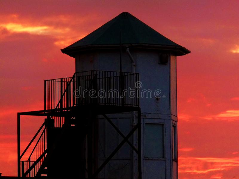 Sun set tower royalty free stock images