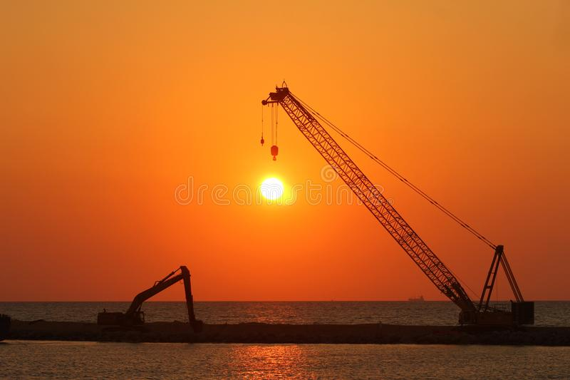 Sun set - Unloading. Galle-Face Green is where the whole of Colombo descents to see the sunset royalty free stock photos