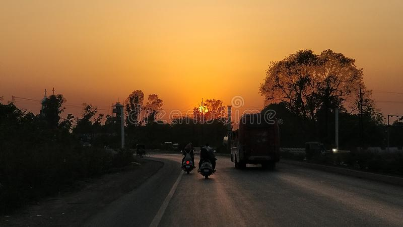 The sun sets royalty free stock image