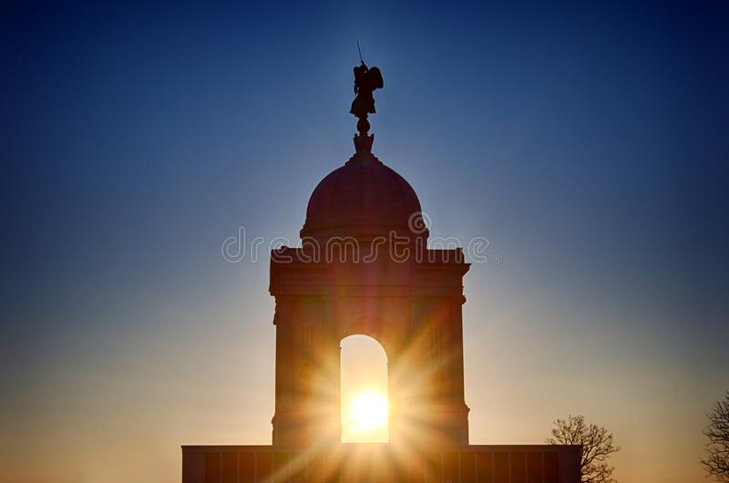 Pennsylvania State Monument. The sun sets behind the Pennsylvania State Monument in Gettysburg, PA royalty free stock photo