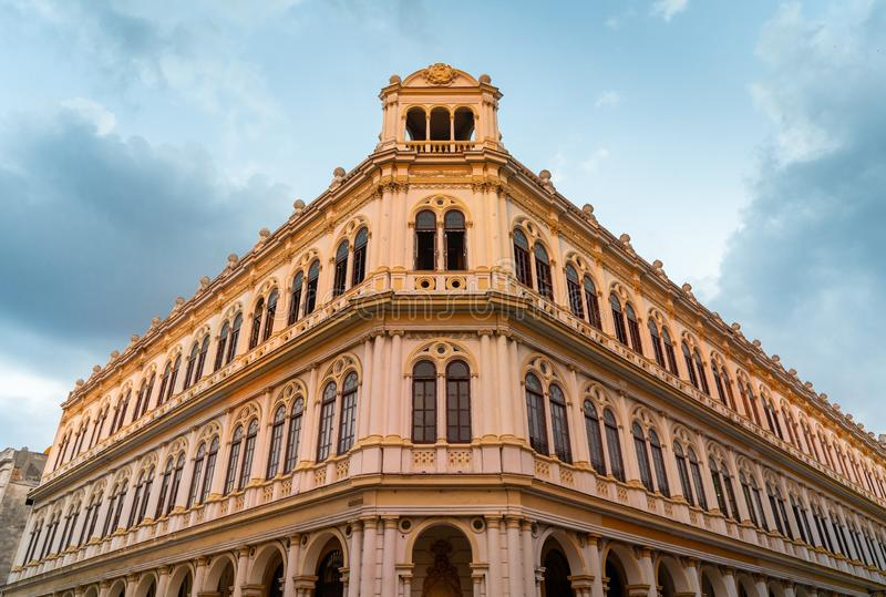 Sun sets on Cuban colonial architecture stock images