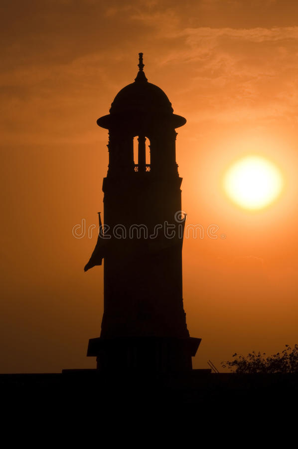 Sun sets over the indian parliament building stock images