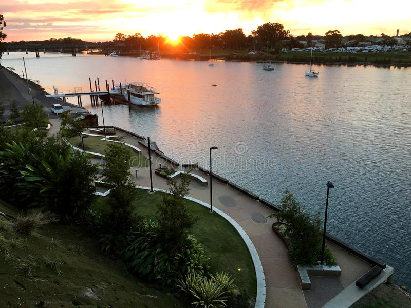 Sunset over the river in Bundaberg stock photography