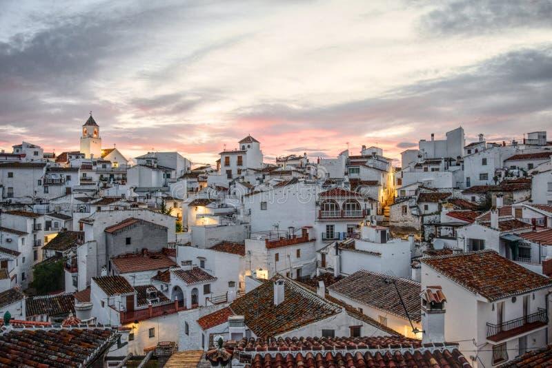 Download Sunset Behind Spanish White Painted Village. Stock Photo - Image: 92533664