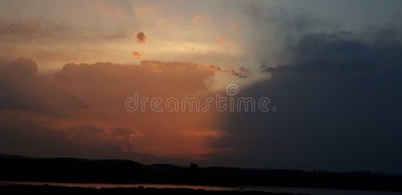 Sun setting Bahir Dar Ethiopia stock afbeelding
