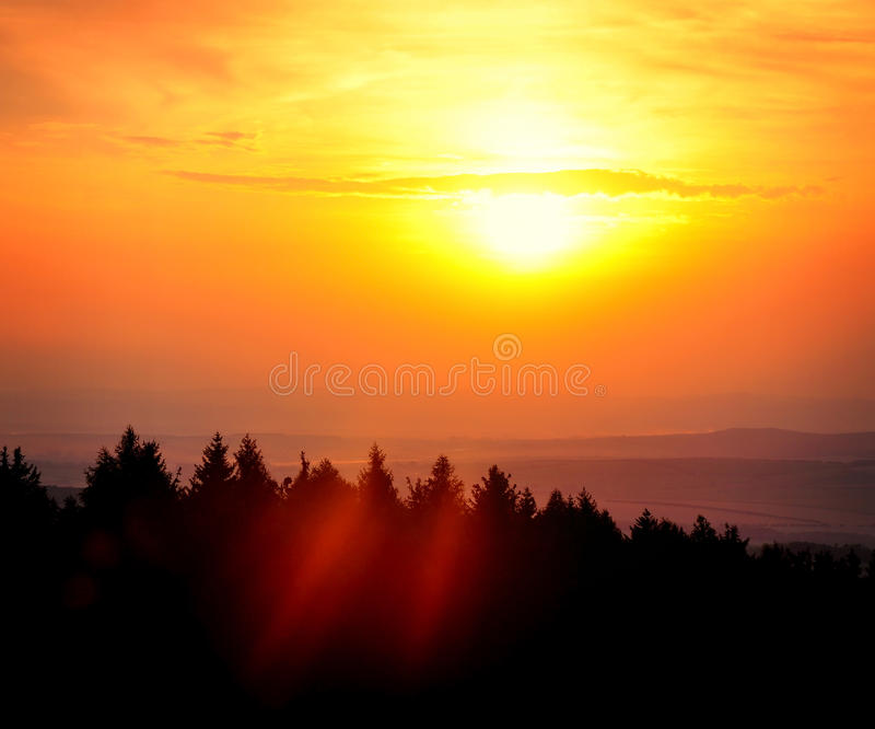 Sun setting down royalty free stock photography