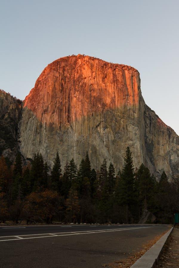 Sun setting on El Capitan stock photos