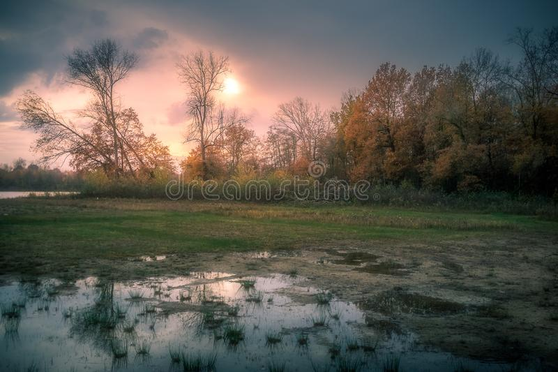 Water and sun. Sun setting on Nederweert, Netherlands stock photography
