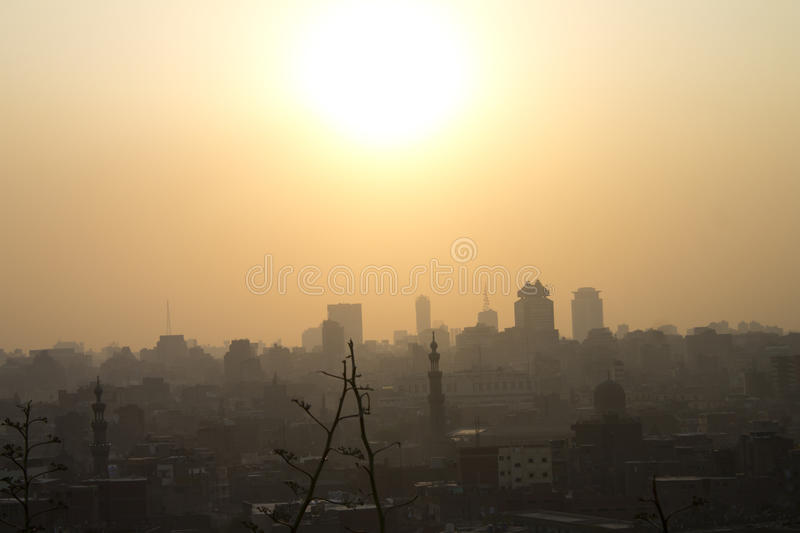 Sun setting over Cairo. Cairo sunset taken from the AlAzhar park in Cairo royalty free stock images