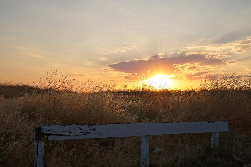 Sunset over a field in California. stock photos