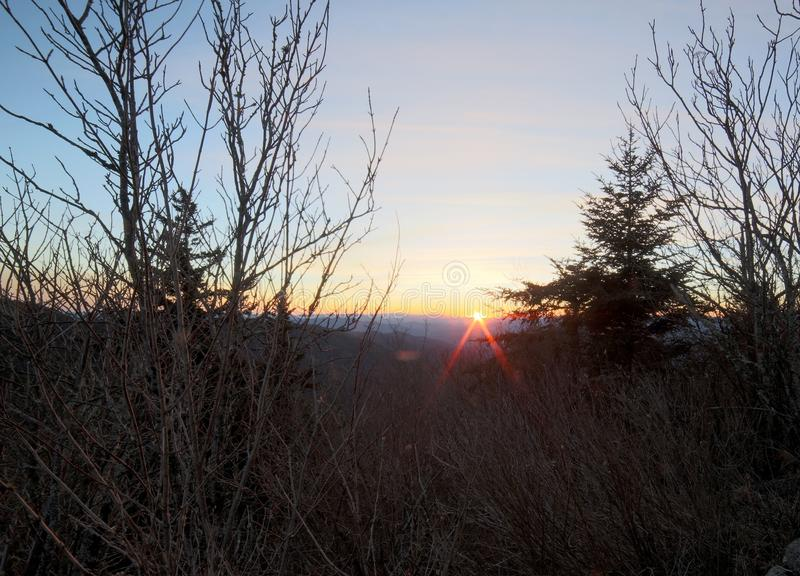 The sun setting over the Great Smoky Mountains of North Carolina stock photography