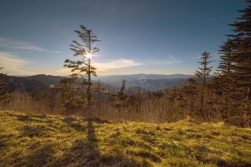 The sun setting over the Great Smoky Mountains of North Carolina stock image