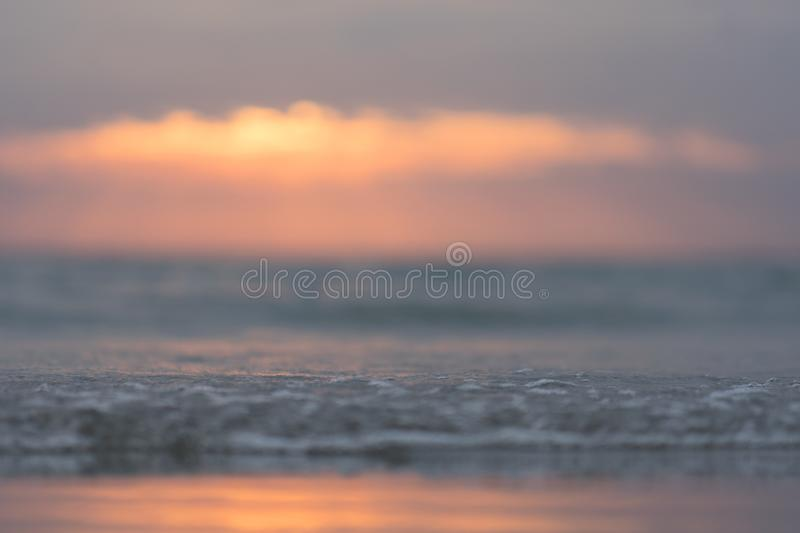 Sun setting over the ocean soft focus. So beautiful nature for background royalty free stock photography