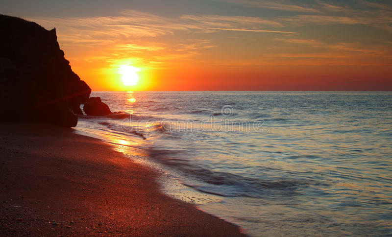 Sun setting at the Sea of Azov stock photos