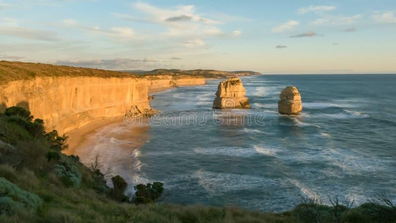Sun setting at the twelve apostles on the great ocean road. In victoria, australia stock photo