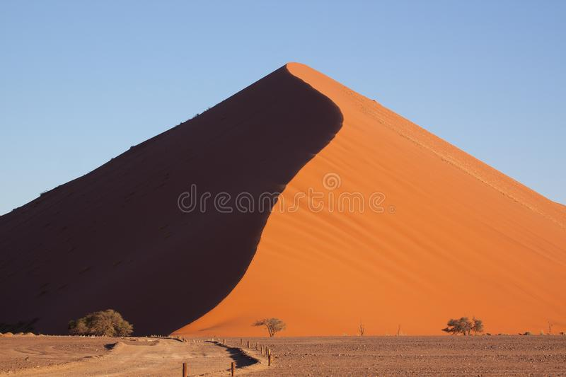 Sun and shadow shot of dune 45 in Namibia royalty free stock photo