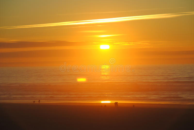 Sun shining at evening. The shun shining in a beach of Moliets et Maa royalty free stock images