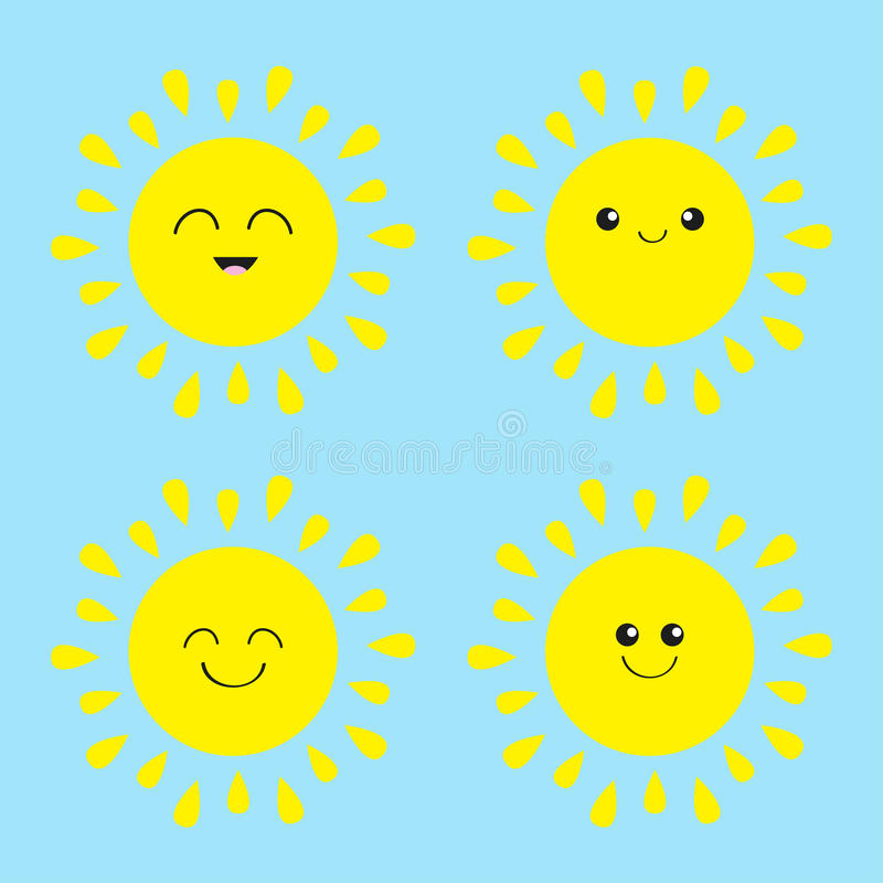 Download Sun Shining Icon Set. Kawaii Face With Different Emotions. Cute Cartoon  Funny Smiling
