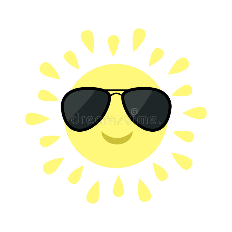 Sun shining icon. Sun face with black pilot sunglassess. Cute cartoon funny smiling character. White background. Isolated. Flat vector illustration