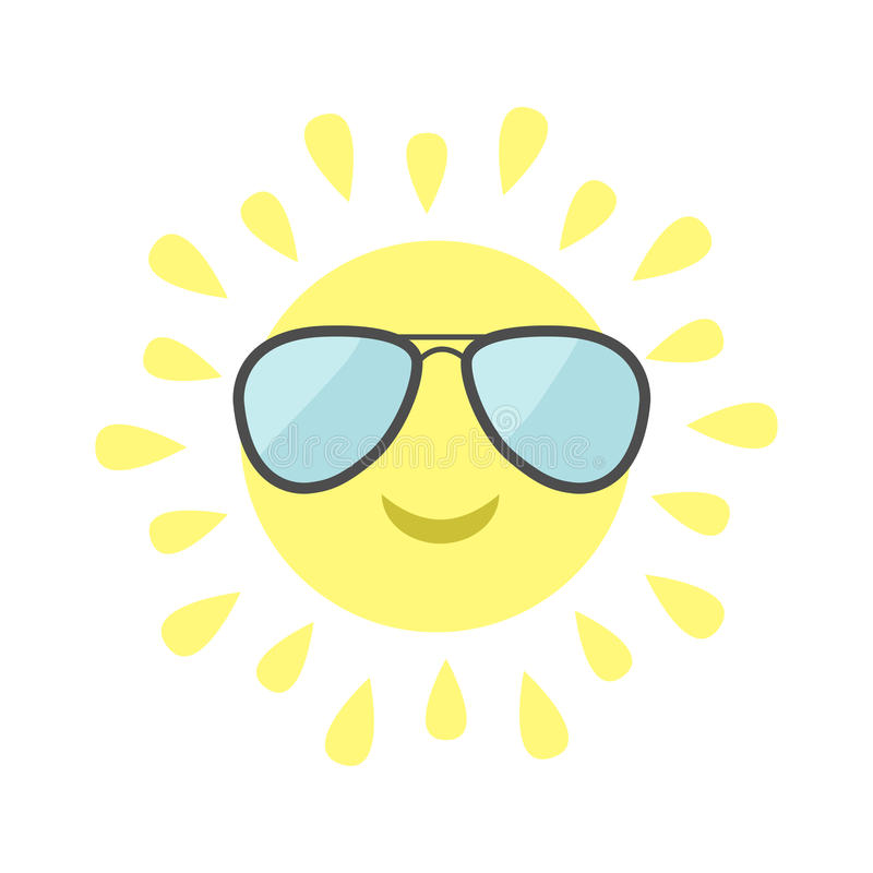Download Sun Shining Icon. Sun Face With Pilot Sunglassess. Cute Cartoon  Funny Smiling Character