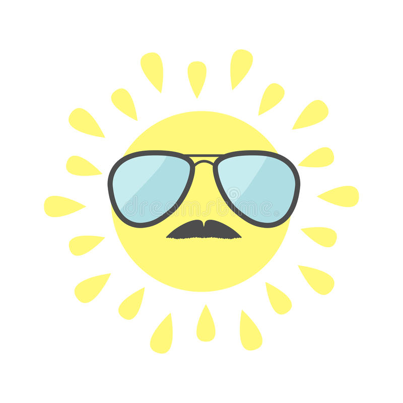 Sun shining icon. Sun face with sunglassess and mustaches. Cute cartoon funny smiling character moustaches. White background. vector illustration