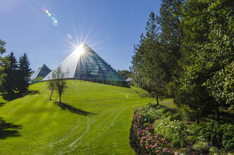 Download Sun Shining Off The Muttart Conservatory Stock Image - Image of muttart, grass: 35650445