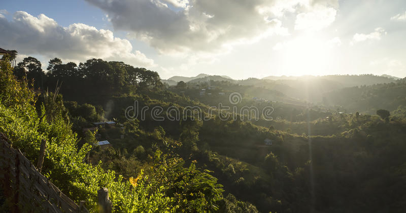 Sun shining over the valley of Kalaw. Valley scenery with sun shaping the landscape of Kalaw, Myanmar stock images