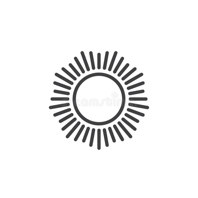 Sun with shinning sunbeams outline icon royalty free illustration