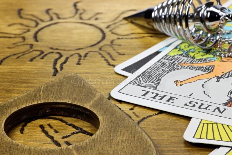 The sun. Shown by fortune telling accessories stock photo