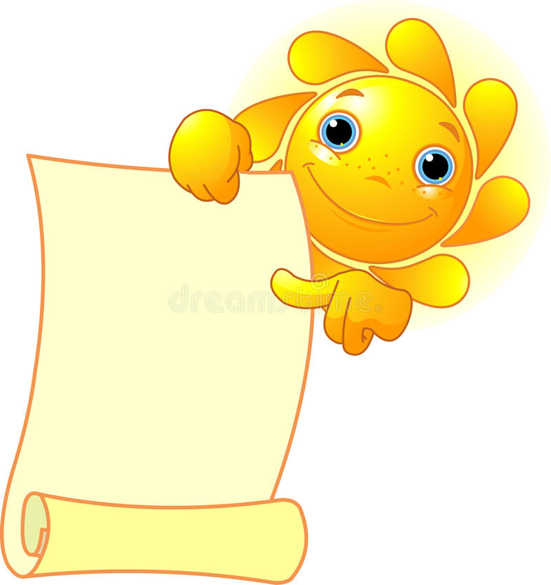 Download Sun shows a scroll stock vector. Image of facial, cheerful - 15119109