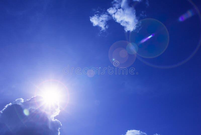 Sun shy, blue sky and cloud royalty free stock photos