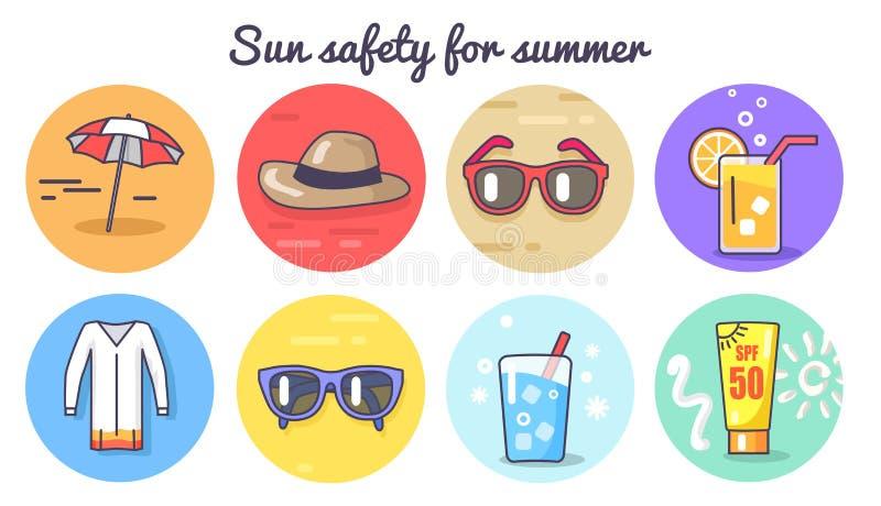 Sun-Sicherheit für Sommer-Plakat-Vektor-Illustration stock abbildung